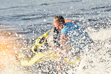 Man On A Jet Ski In The Spray Of Waves Blurred Image, Letl, Sea, Water Entertainment, Summer