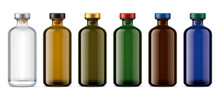 Set Of Colored Glass Bottles. ...
