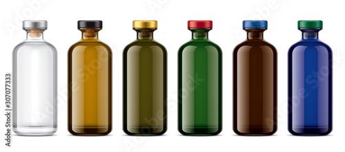 Obraz na płótnie Set of Colored Glass bottles. Version with colored Cork.
