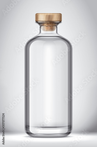 Glass bottle mockup on Background. Version with Cork. Wallpaper Mural