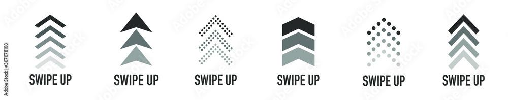 Fototapeta  Arrow up for social media stories, design blogger, scroll pictogram. Set of Black Swipe Up icon. Scroll pictogram. Stories swipe button. Text swipe up
