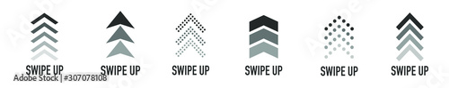 Obraz  Arrow up for social media stories, design blogger, scroll pictogram. Set of Black Swipe Up icon. Scroll pictogram. Stories swipe button. Text swipe up - fototapety do salonu