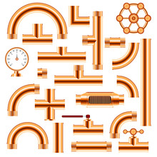 Copper Pipe Fittings Set Vecto...