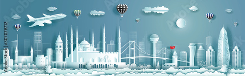 Travel to Turkey landmarks of europe with panorama view background.