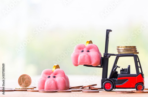 happy piggy bank on stack coins with miniature toy forklift machine, over blurred green spring garden background Canvas Print