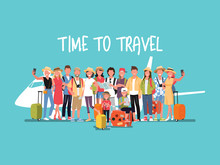 Happy Group Of Teen And Family Traveler