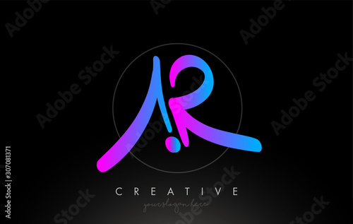 Photo AR Artistic Brush Letter Logo Handwritten in Purple Blue Colors Vector