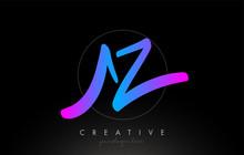 AZ Artistic Brush Letter Logo Handwritten In Purple Blue Colors Vector