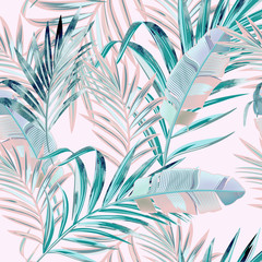 Fototapeta Romantyczny Fashion vector floral pattern with tropical palm leaves