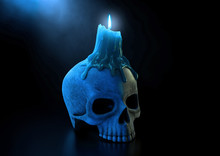 Skull Candle And Blue Flame