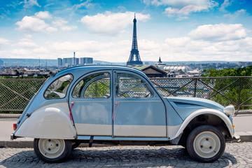 Paris historic car cityscape