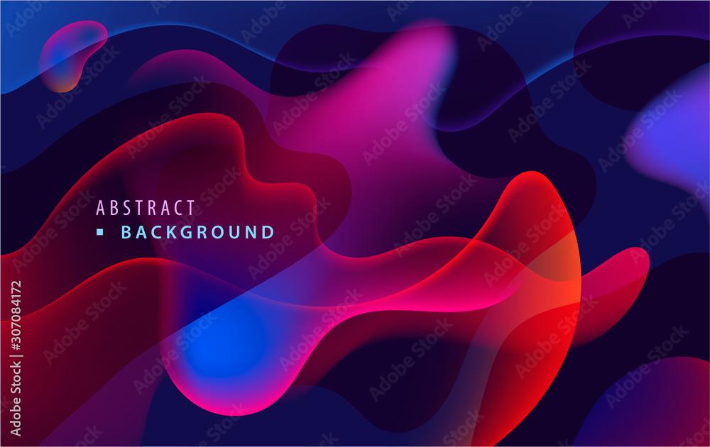 Fototapeta Vector modern colorful fluid flow poster template. Wave liquid gradient transparent shapes