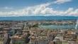 flight over geneva city center sunny day lakeside fountain aerial panorama 4k timelapse switzerland