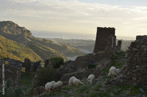 old abandoned castle trekking in the edge of Amendolea Bova national park Asprom Fototapet