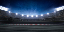 Racing Stadium At Night. Many Spotlights With Lens Flare. Stars And Clouds On The Sky. 3d Render