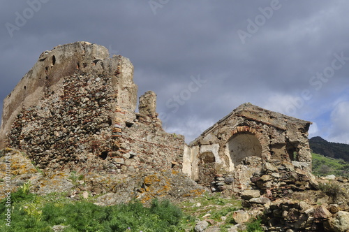 old abandoned castle trekking in the edge of Amendolea Bova national park Asprom Canvas Print