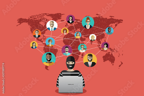 Fototapety, obrazy: Cyber thief, hacker, hacking personal information from business people around the world. Cyber security and crime concept. Vector illustration of flat design