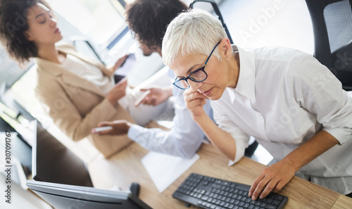 Fotomural  Programmer working in a software developing company office
