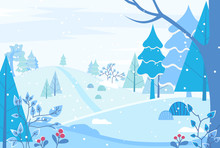 Winter Landscape In Forest. Wintertime In Nature Woods With Spruce, Pine Trees And Bushes With Berries. Snowy Grounds And Branches Covered With Snow. Winter Scenery With Foliage Vector In Flat