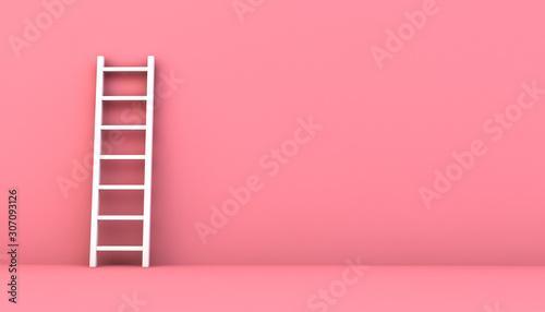 Fototapeta step ladder on a pink wall