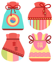 Traditional Chinese Fortune Bag Vector, Isolated Fabric Cloth With Thread Stuffed With Symbols Of Prosperity. Chinese Lucky Bag. Holiday In China And Celebration Special Occasions, Oriental Traditions