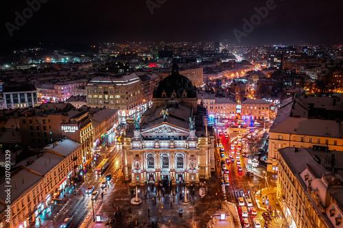 Fototapeta Aerial view on Lviv Opera at night from drone obraz na płótnie