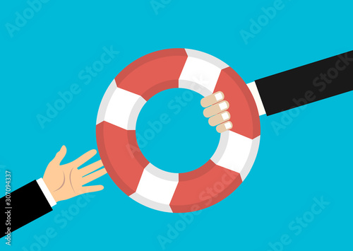 Fototapeta Helping Business to survive. Drowning businessman getting lifebuoy from another businessman. Business help, support, survival, investment concept. Vector colorful illustration in flat style obraz