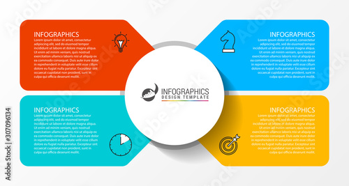 Obraz Infographic design template. Creative concept with 4 steps - fototapety do salonu