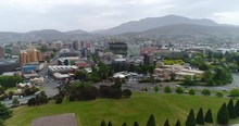 Hobart CBD With Mountains In T...