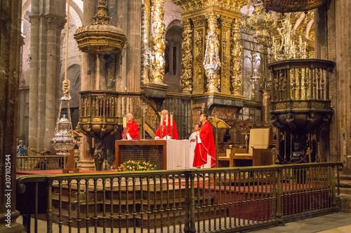 Santiago de Compostela, Spain - 10/16/2018: world famous censer in action with archbishop on background Canvas Print