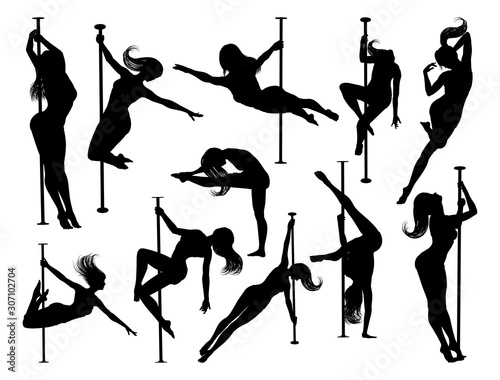 Fotografiet A set of women pole dancers exercising for fitness in silhouette