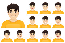 Young Asian Man With Different Facial Expressions Set Vector Illustration Isolated