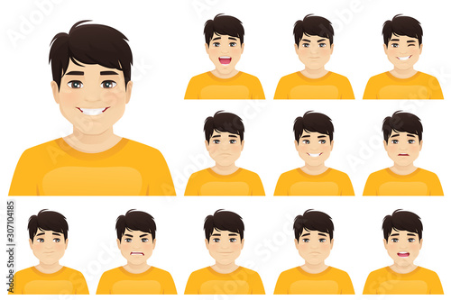 Fotomural Young asian man with different facial expressions set vector illustration isolat