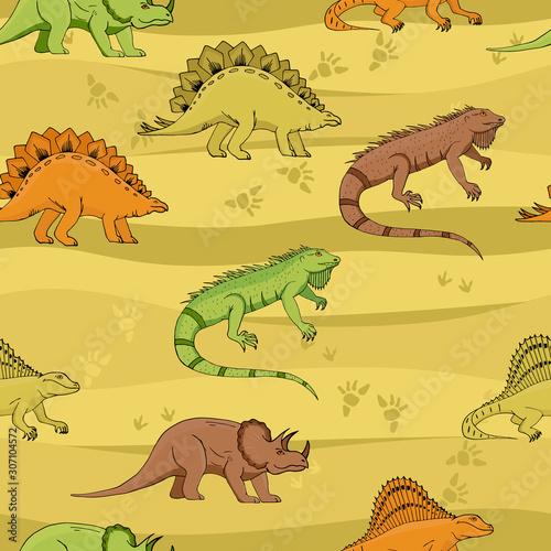 Dino Seamless Pattern, Cute Cartoon Hand Drawn Dinosaurs Doodles Vector Illustration Canvas Print