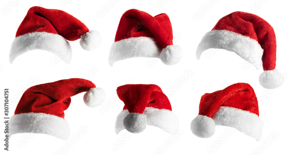 Fototapeta Santa Hat set over white