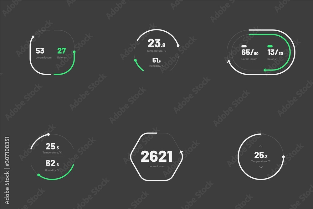 Fototapeta Set with collection of indicator template. Dashboard UI and UX Kit. Control center design with progress bar or temperature control. Black background. Eps 10.