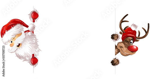 Spoed Foto op Canvas Wanddecoratie met eigen foto Weihnachten Weihnachtsmann Rudulph Seiteite eps10 Illustration vektor