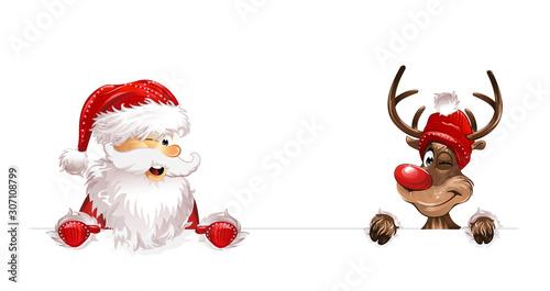 Spoed Foto op Canvas Wanddecoratie met eigen foto Weihnachten Weihnachtsmann Rudulph unten eps10 Illustration vektor