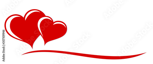 Fotografia The stylized symbol with red hearts.