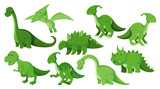 Fototapeta Dinusie - Large set of different types of dinosaurs in green