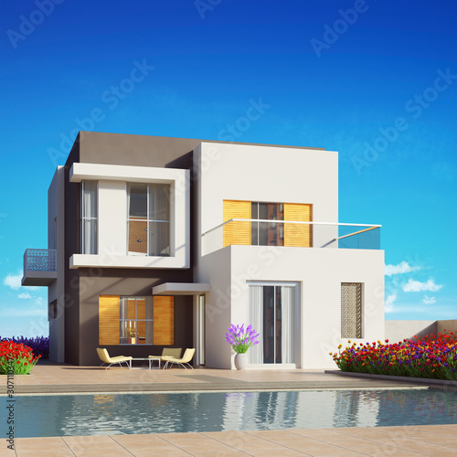 Modern house with swimming pool under blue sky Canvas Print