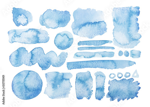 Photo Collezione di pennellate grafiche acquerello blu