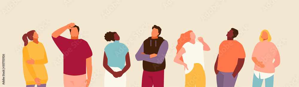 Fototapeta Group of people looking up. Advertising and events. Vector modern illustration.