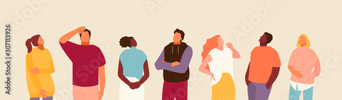 Group of people looking up. Advertising and events. Vector modern illustration.
