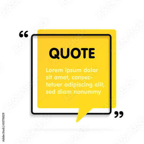 Photo Quote text bubble. Commas, note, message and comment.