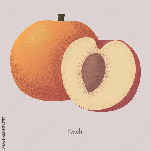 Fotografía Juicy peach cut in half and whole