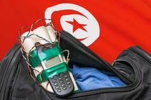 Terrorist Attack In Tunisia. Black Bag With Bomb.
