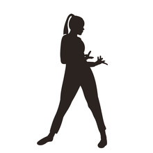 White Background, Black Silhouette Of A Dancing Girl Isolated