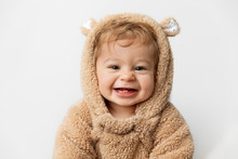 Cute Laughing Baby In Hooded B...