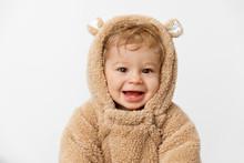 Cute Smiling Baby Wearing Hood...